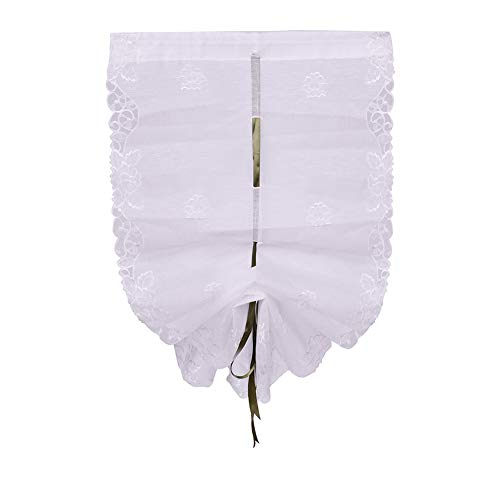 25x57inch Tie Up Roman Shades Rose Balloon Curtain Slub Yarn Elegant Embroidered Sheer Handmade Hollow for Kitchen Windows(25x57 inch, White)