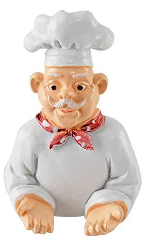 "HOME-X Cartoon Chef Plug Holder, Cute Kitchen Wall Decor, Plug Storage Hook for Kitchen Appliances, Kitchen Organizer for Plugs, Adhesive Holder, White, 3 ½"" L x 2 3/8"" W x 1 ¼"" H"
