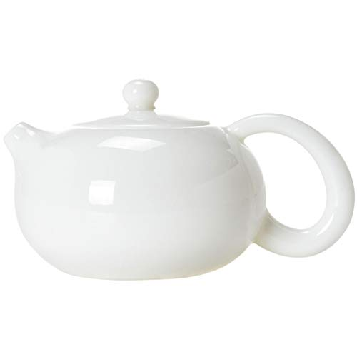 Teiera 180ML Ceramica Teiera Cina teiera Semplice di Piccola capacità Tea Kettle con Coperchio Home Office Coffee Pot Bianco Durevole (Color : White, Dimensione : A)