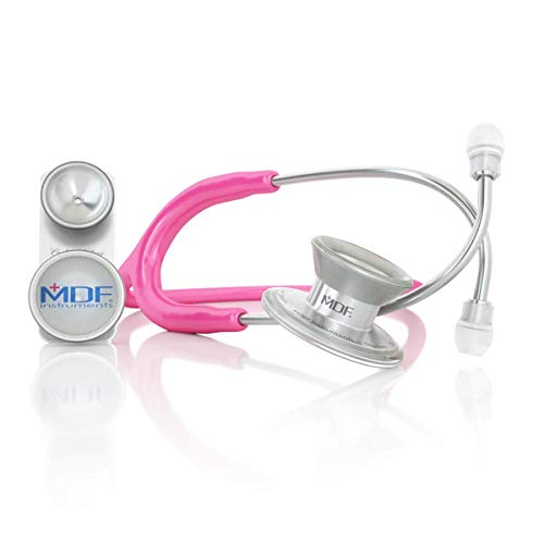 MDF MD One Epoch Lightweight Titanium Stethoscope, Adult, Pediatric, Free-Parts-for-Life, Fuchsia Tube, Silver Chestpieces-Headset, MDF777DT32