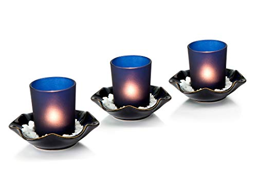 Opps Decorative Frosted Glass Candle Holders with Special Ceramic Tray – Set of 3 (Blue)