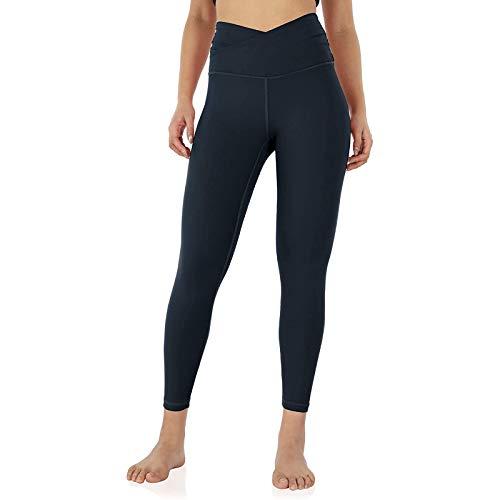 KnuraLA Leggings Mujer con 2 Bolsillos,Pantalones De Yoga Ajustados De Color Sólido De Mujer Cintura Alta Elásticos Reducir Vientre Para Running Fitness Yoga(Armada,XL)