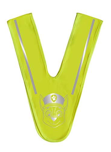 POS 31479 - Warnweste für Kinder in Dreiecksform mit angesagtem Paw Patrol Motiv, Sicherheitskragen in neon-gelb mit Reflektoren zur besseren Sichtbarkeit im Straßenverkehr