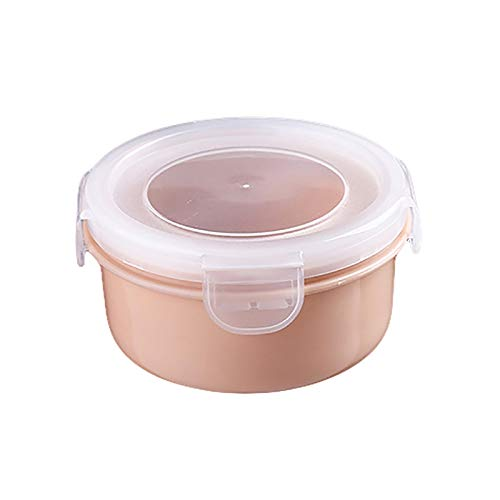 GZA Redondo/Rectángulo Caja De Almuerzo Plastic Stoarge Box Alimento Contenedor Contenedor De Alimentos Cocina Stoarge Organizer (Color : Pink Round)