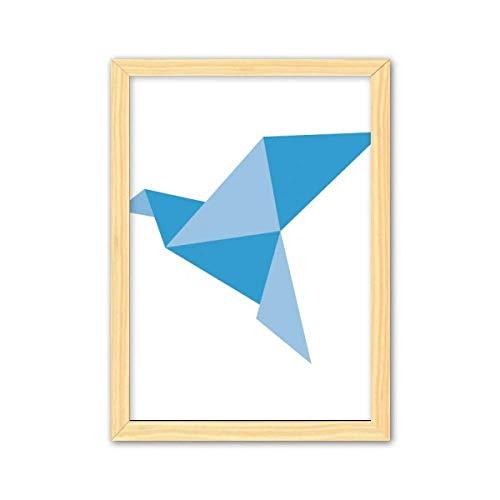 CaoGSH Blaues Origami-Bilderrahmen, abstraktes Taubenmuster, dekoratives Holzgemälde, Heimdekoration, Bilderrahmen, A4