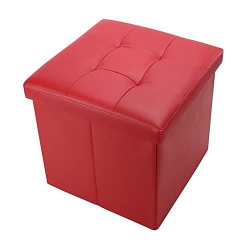Wddwarmhome - Tabouret de Rangement Pliable - Pouf de ménage en PU - Poids Maximum 100 kg - Facile à Nettoyer (Couleur : Red, Taille : 38 * 38 * 38cm)