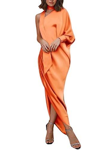 Minetom Robe Femme de Cocktail Vintage Une Épaule Couleur Unie Irrégulière Fluide Rockabilly Party Cérémonie Robe Longue Orange FR 38