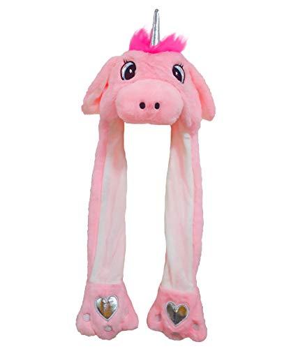 dressfan Dame Mädchen Plüsch Rosa Einhorn Ohr Hut Spielzeug Geburtstagsgeschenk Durch Drücken Der Einhornmütze Bewegen Die Ohren des Einhorns Sich Bewegen