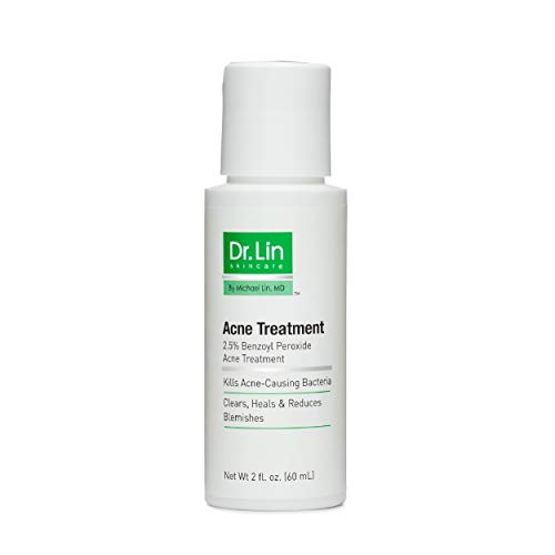 Dr. Lin Skincare Acne Treatment | For Oily Problem Skin | 2.5% Benzoyl Peroxide Acne Medication | Kills Pimple Bacteria | Clears & Heals Blemishes & Breakouts | Drying Lotion | Adults | Teens | 2 Oz