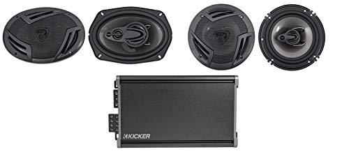 (1) KICKER 46CXA3604T CXA360.4 RMS 4-Channel Car Audio Amp Bundle with (1) Pair Rockville RV69.4A 4-Way Car Speaker RMS CEA Rated and (1) Pair RV6.3A 3-Way Car Speaker RMS Rated (3 Items)