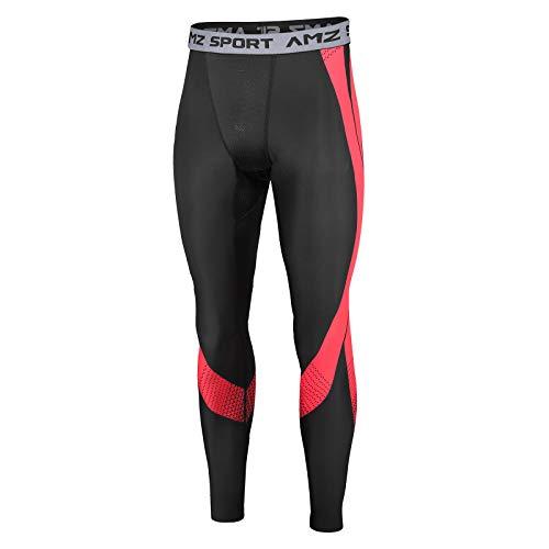 AMZSPORT Pantaloni Compressione Termica da Uomo Collant Base Layer Leggins da Corsa Invernali, Nero Rosso XL