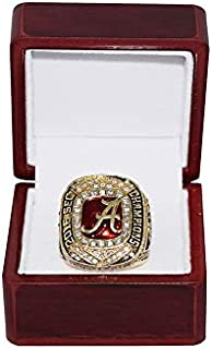 UNIVERSITY OF ALABAMA CRIMSON TIDE (Jalen Hurts) 2016 SEC NATIONAL CHAMPIONS (Vs. Gators) Collectible High-Quality Replica Gold Football Championship Ring with Cherrywood Display Box