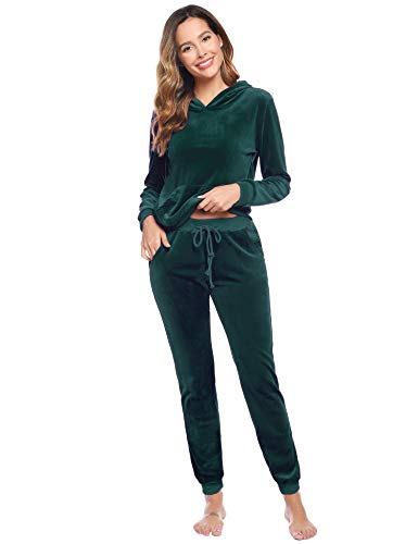 Aiboria Women's Solid Velour Sweatsuit Set Hoodie and Pants Sport Suits Tracksuits (Dark Green,M)