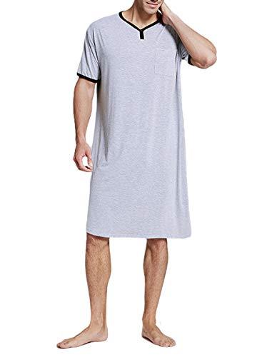 Jumpp - Camisón de algodón para hombre, cuello en V, manga corta, suave, suelto, para hombre y mujer - Gris - Medium