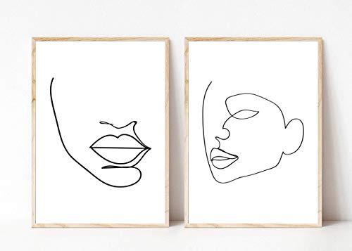 Din A4 Kunstdruck ungerahmt 2-teilig - Gesicht Kopf Frau - Abstrakt Minimalistisch Zeichnung schwarz weiß Moderne Kunst Druck Poster Bild
