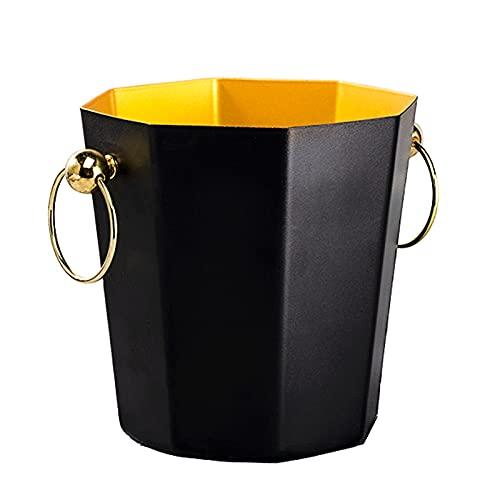 LBSY Cubitera de Acero Inoxidable de Doble Capa (Oro Negro), Cubo de Champán Octogonal, con Mango Y Pinzas para Hielo, para Familias, Reuniones, Barbacoas, Picnics, Fiestas, Bares