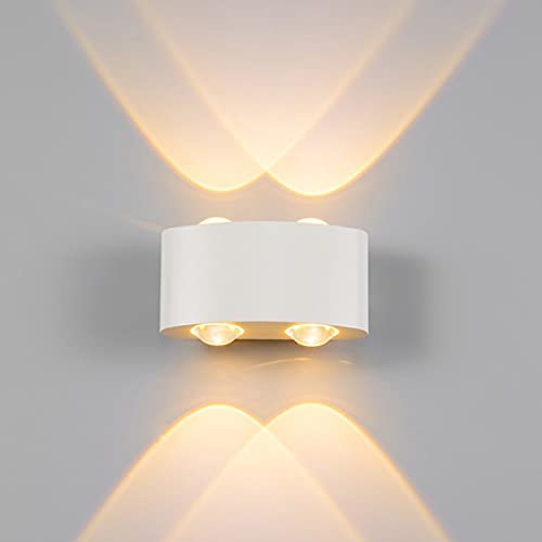 LED Apliques de Pared de Aluminio, Moderno Lámpara de pared Impermeable , Luz de Iluminacion Interior Exterior para Baño,Pasillo,Dormitorio,Sala de Estar,Jardín,Balcón (4W Blanco-Luz cálida)