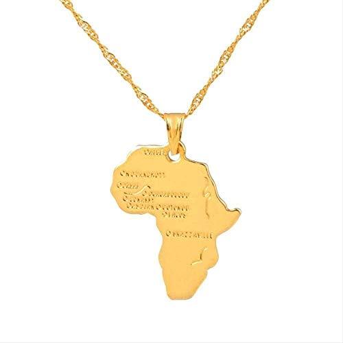 ZJJLWL Co.,ltd Collar con Colgante de Mapa de África Collar para Mujeres Hombres Color Dorado joyería etíope mapas africanos artículo Hiphop