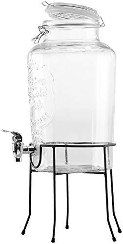 PEARL Getraenkespender: Retro-Getränkespender aus Glas mit Ständer, Zapfhahn, 6,5 Liter (Glasgetränkespender)