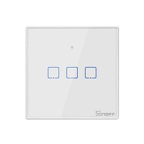 Leeofty T2EU3C-TX Interruptor de luz de Pared WiFi Inteligente de 3 Bandas 433 MHz Aplicación de Control Remoto RF/Temporizador de Control táctil Interruptor Inteligente de Panel estándar de la UE