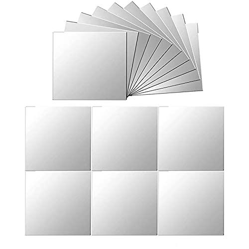 Espejos autoadhesivos Pared, 16 Piezas Espejo de Cuadrados, Azulejos de Espejo para Pared, Espejo acrílico Adhesivo, para Cuarto de baño Dormitorio Papel Tapiz Pegar acrílico Espejo, 15 x 15 cm