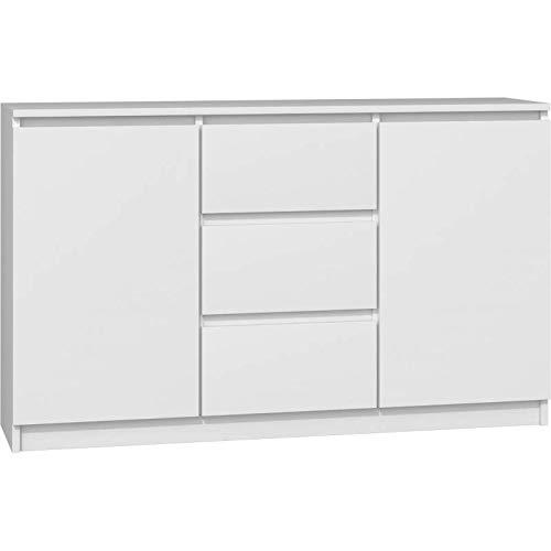 ADGO Cómoda 2D3S con 2 puertas y 3 cajones, 120 x 75 x 30 cm, armario clásico con estantes para dormitorio, salón, habitación de los niños, de pie, ahorra espacio (envío en 2 paquetes), color