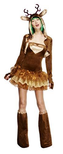 Fever, Damen Rentier Kostüm, Tutu-Kleid mit abnehmbaren Trägern, Jacke und Überstiefel, Größe: M, 33868