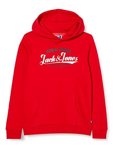 Jack & Jones Junior JJELOGO SWEAT HOOD 2 COL 20/21 NOOS JR Kapuzenpullover, Tango Red, 164