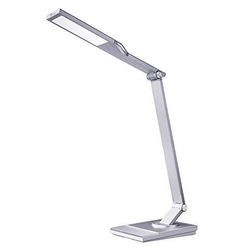 TaoTronics 100% Metall Schreibtischlampen LED 12W Touch-Control 5 Farbetemperaturen & 6 Helligkeiten, Tageslichtlampe Tischlampe mit USB-Anschluss 5V 2A zum Aufladen von Smartphones/Tablets (Silber)