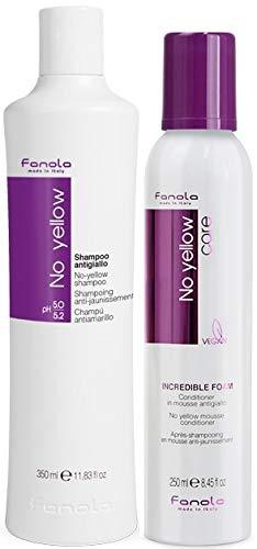 Fanola Offizielles No Yellow Shampoo & Incredible Conditioner Foam (Shampoo 350 ml + Schaum 250 ml)