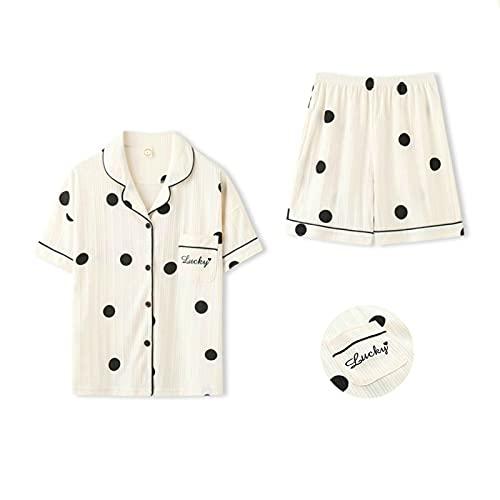 DOPN Conjunto de pijama de algodón, camisón de noche, pijama corto, de algodón, 2 piezas, camiseta de manga corta y pantalones cortos para dormir