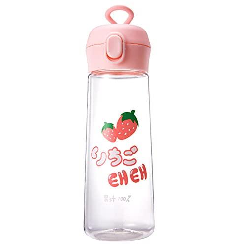 XMYNB Botella de Agua 350/500 Ml Botella De Agua De Dibujos Animados A Prueba De Fugas De La Botella Deportiva De La Taza De Plástico para Caminar Las Botellas De-350Ml,Strawberry