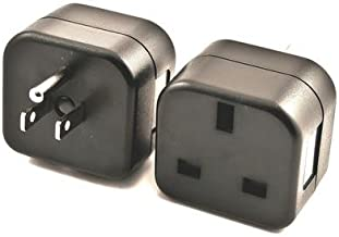 VCT VP18 UK to USA Plug Adapter Converts 3 pin British Plug to 3 Prong Grounded USA Wall Plug
