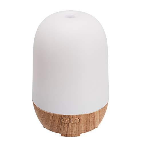 AmazonBasics Difusor de aceites esenciales para aromaterapia ultrasónico de 100ml, base con acabado de madera clásica, con luz nocturna de 7 colores