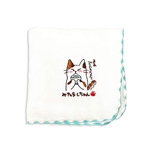 みたらしちゃん タオルハンカチ 青(湯のみ)ハンドタオル 綿100% 日本製 可愛い 猫 ねこ