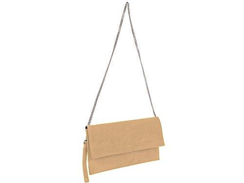 scarlet bag | Clutch Tasche Unterarmtasche Abendtasche Umhängetasche aus echtem Wildleder | Damen Handtasche; 31 x 17 x 1 cm (Sand)