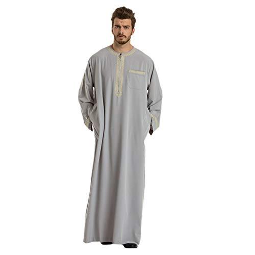 Muslimische Kleider Yesmile Muslim Herren Robe Männer Muslim Langarm Mittlerer Osten Saudi Stickerei Robe Islamisch Arabisch Kaftan Lange Ärmel Pakistan Volle Länge Traditionell Ethnische Kleidung