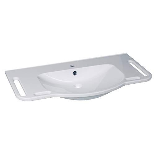 KIBOMED GTM-1002 Waschtisch weiß mit Überlauf-Schutz | 1000x555 mm | frontale Haltegriffe + seitliche Handtuchhalter | seniorengerecht | Rollstuhl unterfahrbar