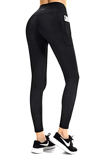 FETY Women's High Waist Leggings Full-Length Yoga Pants with Side/Hidden Pockets, Tummy...