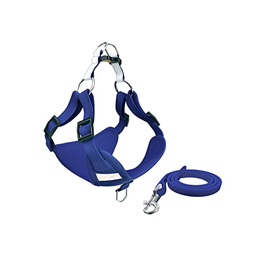 Pet Supplies - Collar para perro, arnés para perro, chaleco sin tracción, correa transpirable, arnés para cachorros, gatos, collar de algodón, perro, bulldog francés, Chihuahua, Carlin-Blue-XXS