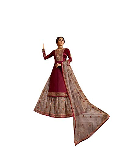 New Indian/Pakistani Eid Special Party/Ethnic wear Georgette Straight Ghagra Style Salwar Kameez Suit for Womens 9936 (Red, 54)