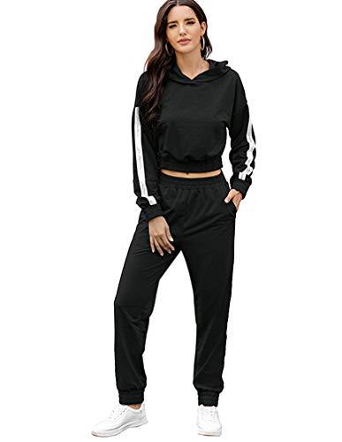 Lavnis Women's Tracksuit Plus Size 2 Piece Outfits Hoodie and Pants Sports Sweatsuit Set (M, Black)