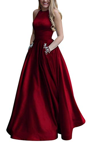 Women's Long Beaded Halter Satin Prom Dress A Line Open Back Evening Gowns with Pockets Burgundy US6