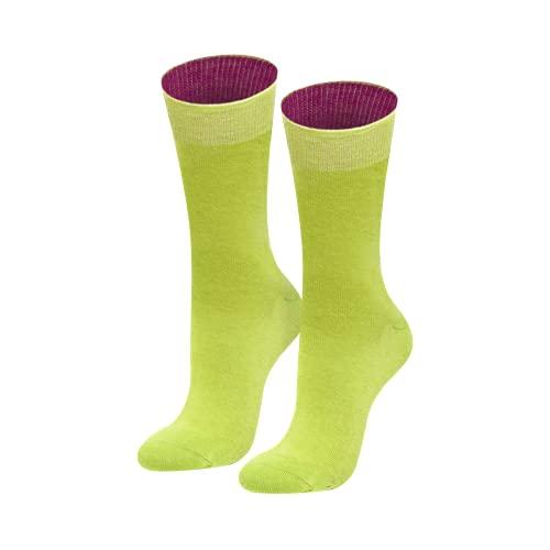 von Jungfeld - Damen Socken/Strumpf Damensocken Baumwolle 1 Paar viele Farben hellgrün 39-41