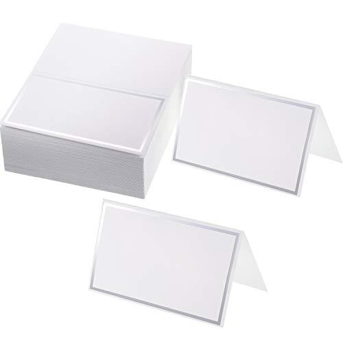 Platz-Karten Tabellen Name Zelt-Platz-Karten Sitzplatz Karten für Hochzeit, Bankett, Abendessen, Party und Festival, 2 x 3,4 Zoll (Silber)