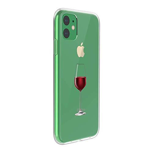 Suhctup Carcasa compatible con iPhone 11 / XI PRO 2019 Funda transparente con dibujos de TPU suave Bumper Case con bonito diseño de TPU silicona antigolpes 3D Vogue Ultra Chic (rojo copa de vino)