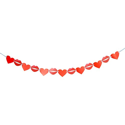 Polka Dot Sky I Love You Heart Lips Pink Red Banner Boda Bunting Decoración Letras Guirnalda Decoración Bandera Para Compromiso Aniversario Día de San Valentín (rojo)