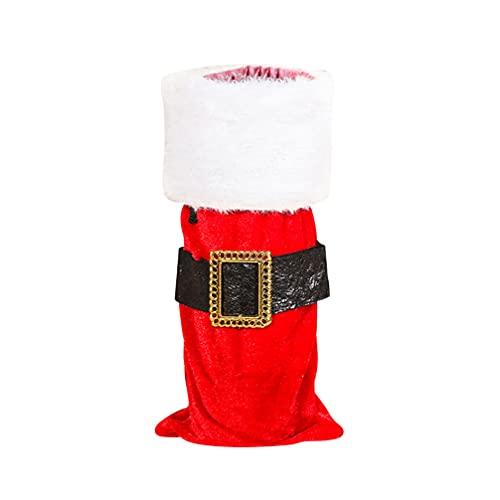 jojofuny Cubierta de La Botella de Vino de Santa Claus Cubierta de La Botella de Vino de Santa Cluas Bolsas de Regalo para Decoraciones de Fiestas Navideñas (Cinturón de Santa Claus)