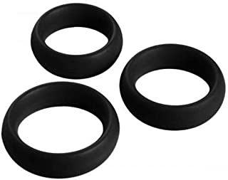 3 Piece Silicone Luxurious Cɔ-Ck Ring Set - Black