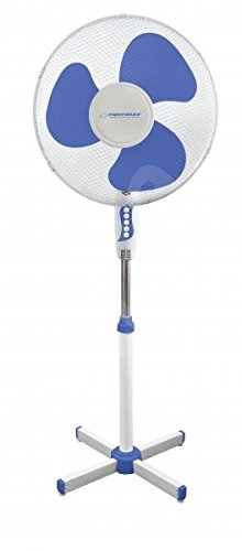 Esperanza EHF001WB HURRICANE - Ventilador de pie (50 W), color blanco y azul